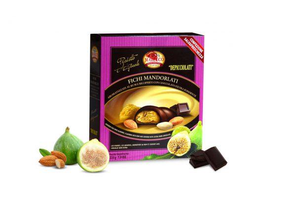 Fichi Mandorlati Aromatizzati al RUM e Ricoperti con Cioccolato Extra Fondente