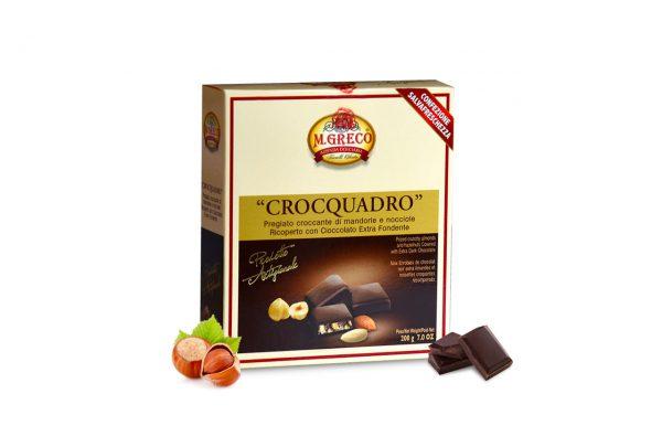 Crocquadro Pregiato Croccante di mandorle e Nocciole Ricoperto con Cioccolato Extra Fondente