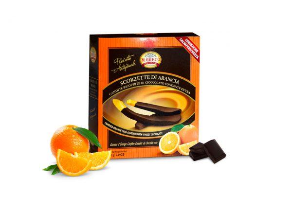 Scorzette di Arancia Candite Ricoperte di Cioccolato Fondente Extra