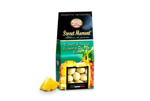 Cubetti di Ananas Ricoperti di Cioccolato Bianco